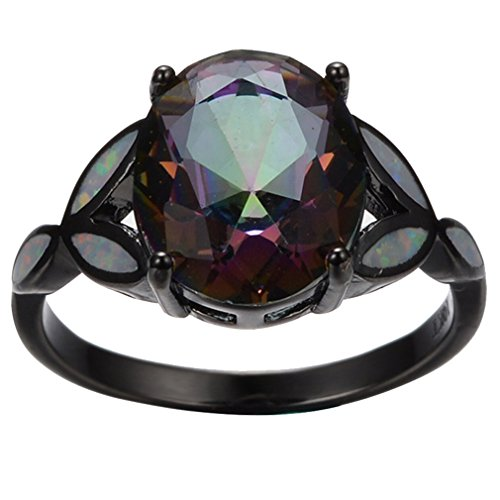 Price comparison product image AYT Bright Opal Stone 14KT Black Gold Filled Mysterious Zircon Finger Ring Size 6 / 7 / 8 / 9 Fashion Jewelry Wedding Ring anillo 7.0