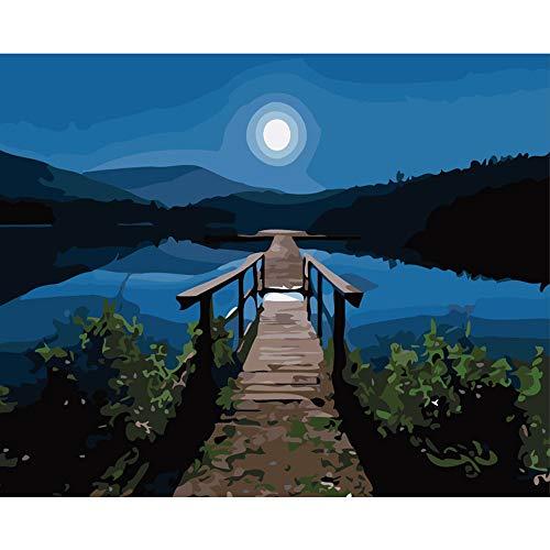 LvJin DIY Pintura Digital Luz de Luna Nightband Frame Color Canvas, 16 * 20 in, Pintura por número, Pintura para Principiantes