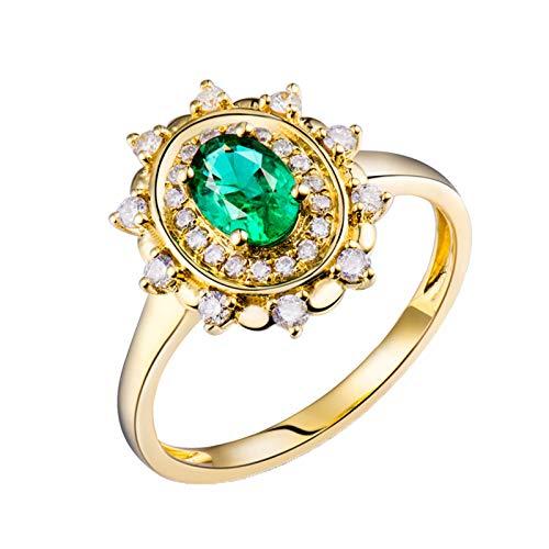 AnazoZ Anillo Mujer con Esmeralda,Anillo Compromiso Oro Amarillo 18 Kilates Oro Verde Flor con Oval Esmeralda Verde 0.5ct Diamante 0.24ct Talla 13,5