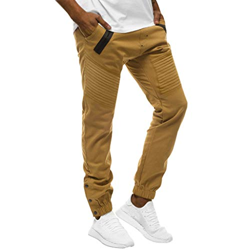 Joggers Pants for Men,Basic Stretch Twill Jogger Pants Big & Tall Track Pants Active Training Sweatpants Khaki