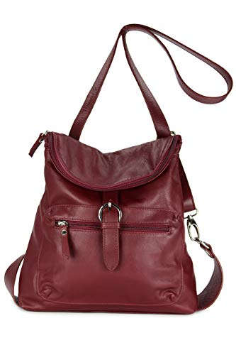 Belli ital. Echt Leder Rucksack Backpack London Handtasche Umhängetasche Rucksacktasche bordeaux - 28x26x10 cm (B x H x T)