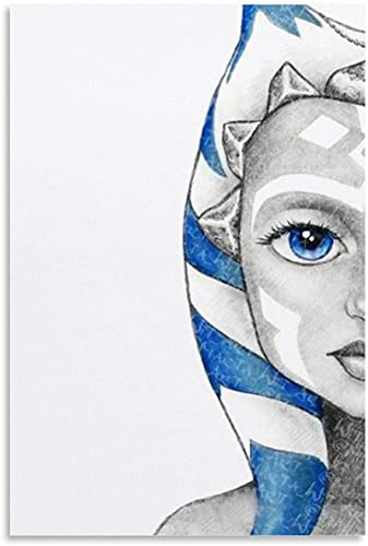 "Muur Art Canvas Prints 24 ""x36"" geen frame Ahsoka Tano Gezicht Tekening Poster Decoratieve Woonkamer Slaapkamer Schilderen"