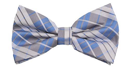 Fabio Farini - Elégant nœud papillon à carreaux pour hommes pour toutes les occasions comme le mariage, la confirmation, le bal Bleu Blanc Gris