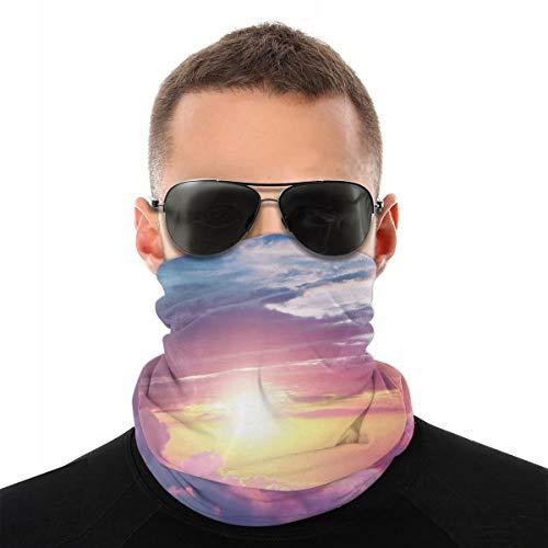MSGDF Variedad bufanda cortavientos cara cubierta 3D, cielo surrealista con nubes mullidas Dreamy Horizon Tranquility Panorama,Polvo a prueba de viento Bandanas calentador de cuello