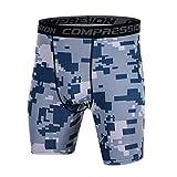 スポーツタイツ ショートコンプレッションショーツ アンダーパンツ メンズ 加圧 吸汗速乾 UVカットパワーストレッチ ブルー1-XXL