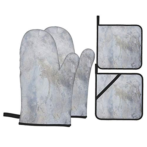 Juego de 4 Guantes y Porta ollas para Horno Resistentes al Calor Textura Cemento Utilizado Fondo para Hornear en la Cocina,microondas,Barbacoa