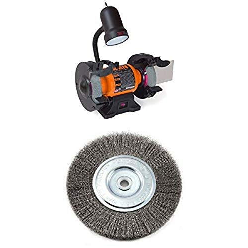 WEN 4276 6-Inch Bench Grinder with Wire Bench Wheel Brush, Fine Crimped with 1/2-Inch and 5/8-Inch Arbor