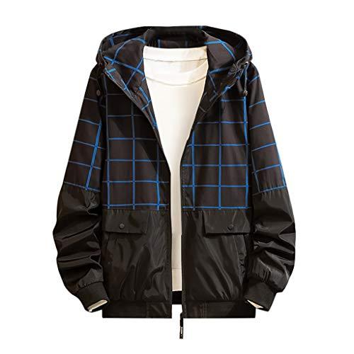 MAYOGO Softshell Jacke Herren Regenjacke Casual Camouflage Jacke Sweatjacke Dünne Übergangsjacke Zip Kapuzenjacke Outdoor Jacke (Blau, 4XL / EU:44)