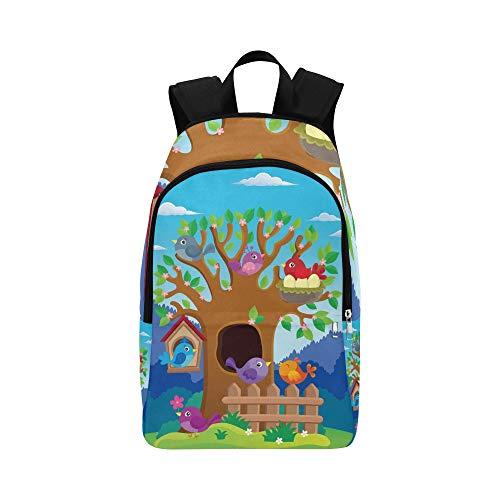 Tree Stylized Birds Theme Image 2 Lässige Daypack Reisetasche College School Rucksack für Herren und Damen