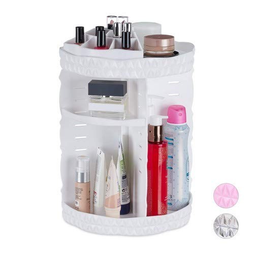 Relaxdays Make Up Organizer, 360 graden draaibaar, acryl, instelbare cosmetica-organizer, nagellak- & penseelhouder, wit