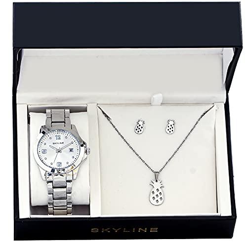 SKYLINE, Conjunto de Reloj para Mujer, Reloj de Pulsera, Collar y Pendientes con Diseño de Piñas, Acero Inoxidable, Cumpleaños, Aniversario, etc, Plateado