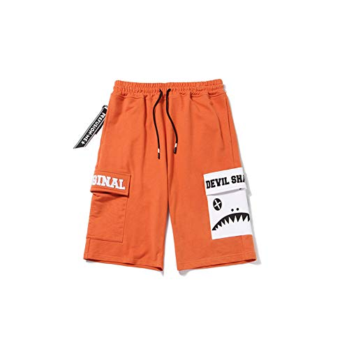 CO Summer Men's Pockets Decorated Five-Point Pants Cotton Stitching Contrast Shorts Embroidered Letters Casual Pants Black