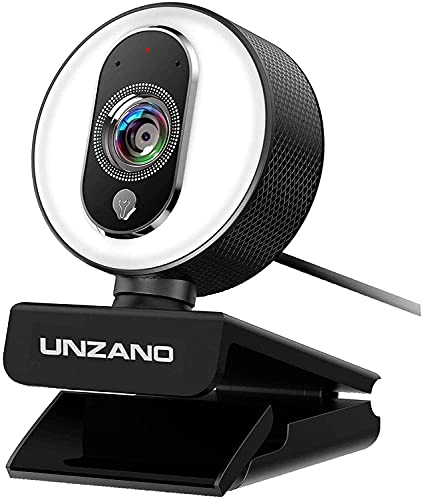 Webcam with Microphone and Ring Light, Full HD 1080p Web Camera, 3-Level Adjustable Brightness Autofocus Streaming Camera for Computer/Zoom/Meeting/Recording/Skype Team/YouTube