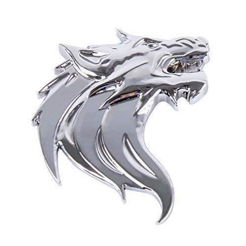 3D Metall Wolf Wolfkopf Chrom Emblem Badge Kühlergrill Grill PKW Auto Silber