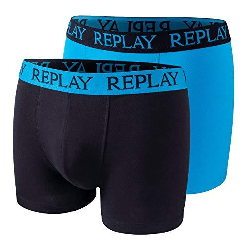 2er Set Boxershorts Herren Replay Baumwolle Unterhose eng anliegend I101009 (XL, Turquoise/Black)