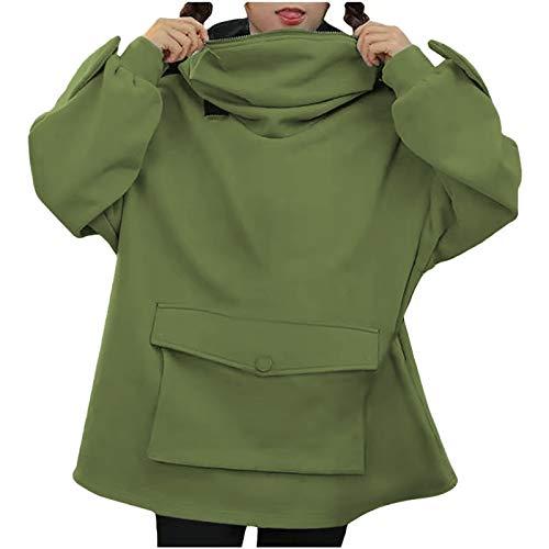 ZuzongYr Sudadera de moda para mujer, monocolor, informal, costura, tridimensional, bonito diseño, manga larga, cuello redondo, otoño, invierno 01- Verde menta S