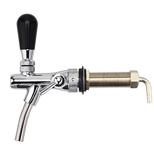 FERRODAY Long Shank Adjustable Faucet Brass Body Stainless Steel Core Draft Beer Faucet No-Rust Plated Beer Faucet for Kegerator Adjustable Beer Tap for Homebrew 5/16 Barbed Fitting Beer Tap