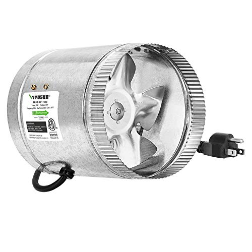 VIVOSUN 6 inch Inline Duct Fan 240 CFM, HVAC Exhaust Intake Fan, Low Noise & Extra Long 5.5' Grounded Power Cord