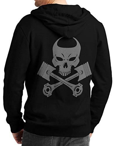 Rebel on Wheels Herren Zip Hoodie Sweat-Jacke mit Kapuze Kapuzen-Jacke Winter mit Motiv Bedruckt Totenkopf Skull Biker Motorrad Piston Punisher Schwarz 2XL