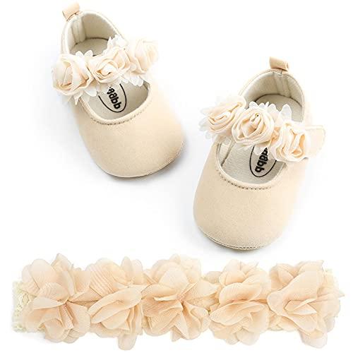 TMEOG - Zapatos con diadema de regalo para bebé o niña, de bambú, para primavera, flores, suela suave, antideslizante, zapatillas de princesa, Beige (f), 18 EU