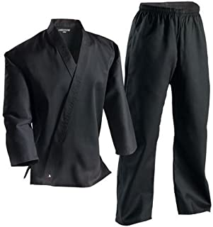 Century Black Martial Arts Karate Uniform with Belt Medium Weight Elastic Waistband & Drawstring Size 000-7 for Adult & Children