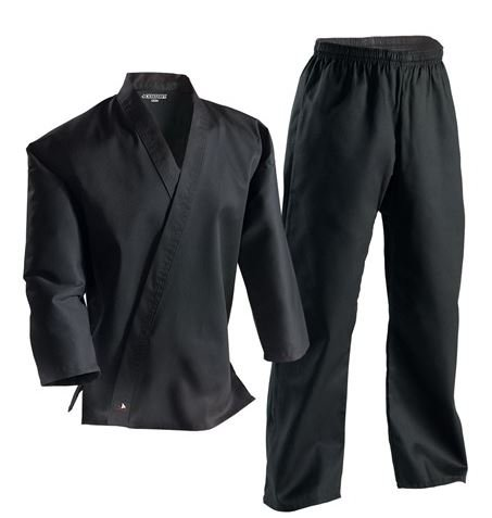 Century Martial Arts Karate Uniform with Belt Medium Weight Black Cotton Elastic Waistband & Drawstring Size 000-7 for Adult & Children (Size 3 110-140lb 5ft 1in - 5ft 6in)