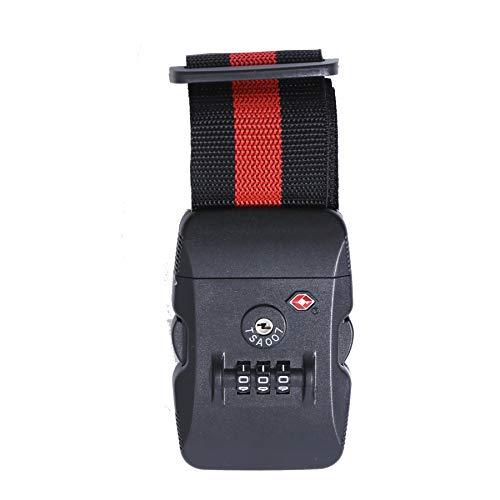 Logic(ロジック) スーツケースベルト TSAロック (全12色 ブラック×レッド) [盗難・紛失・荷崩れ防止] トラベルベルト 長さ調節可能 海外旅行 出張用 スーツケースバンド 旅行鞄用ベルト トラベル 飛行機グッズ トランクベルト