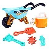 6 juegos de carretilla de jardín para niños, bandejas de arena, herramientas de jardín de playa, juguetes de carro, 2 moldes, pala, rastrillo, regadera y más, juguetes para el verano