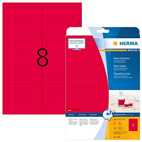 HERMA 5046 Neon-Etiketten DIN A4 (99,1 x 67,7 mm, 20 Blatt, Papier, matt) selbstklebend, bedruckbar, permanent haftende Farbetiketten, 160 Klebeetiketten, neon-rot
