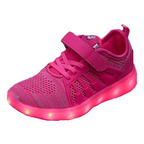 Skyeagle Unisex Kinder LED Schuhe USB Aufladen Leuchtschuhe Licht Blinkschuhe Leuchtende Outdoor-Sportschuhe Sneaker Für Jungen Mädchen (31 EU, Pink 1802)