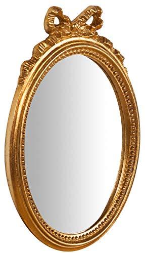 Biscottini Specchio Specchiera da parete stile Shabby in legno con finitura foglia oro Anticato misure L22xPR2,5xH32 cm produzione Artigianato Fiorentino Made in Italy