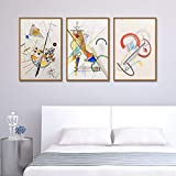 QINGRENJIE Wandkunst Bild Graffiti Himmelblau Cartoon Zusammenfassung Wassily Kandinsky Ölgemälde Leinwand Bunte Künstler Kunstwerk für Wohnzimmer Dekor 3 Stück 40X60Cm * 3 ohne Rahmen