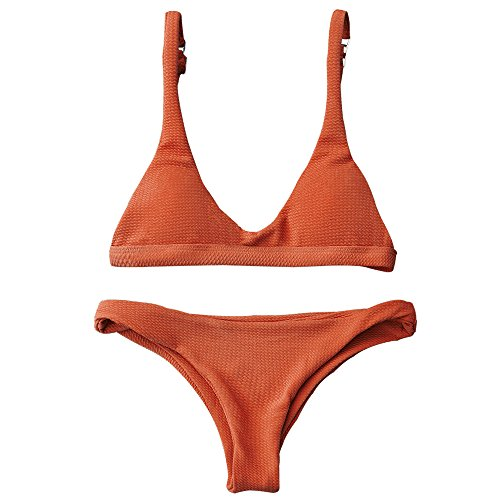 ZAFUL Women Padded Scoop Neck 2 Pieces Push Up Swimsuit Revealing Thong Bikinis V Bottom Style Brazilian Bottom Bra Sets (S, Orange)