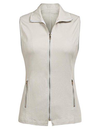 Pinspark Women Outdoor Military Vest Casual Label Full Zip Sleeveless Jacket Moon Gray S