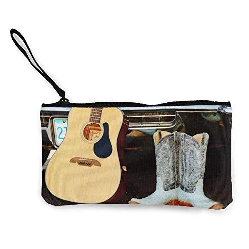 Botas de vaquero de lona para guitarra, monedero, monedero, monedero, pequeño monedero, carteras, tarjeta, cartera de llaves