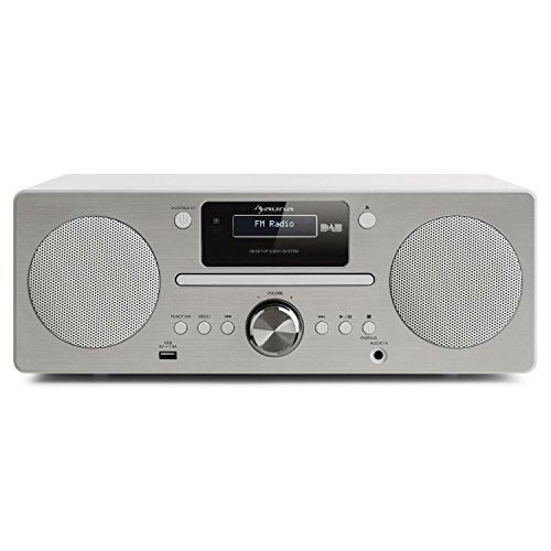 AUNA Harvard - Equipo de música, Reproductor de CD, Receptor Dab/Dab+, FM, Bluetooth, USB, AUX, Memoria 80 emisoras, Función RDS, Mando Distancia, Despertador, Blanco