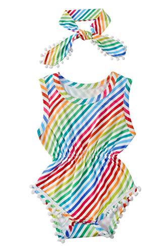 chicolife bebé Mameluco Traje Banda Chicos Chicas Body Suave Material con Borla Imprimir Vacaciones Unisex Conjunto al Aire Libre para los niños 6-12Months, patrón de Colores del Arco Iris