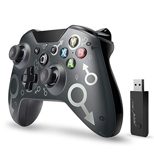 Wireless Controller, ASTARRY Wireless PC-Gamepad mit 2,4 GHz Wireless-Adapter, kompatibel mit Xbox One / One S / One X / P3-Host / Windows 7/8/10 (Schwarz)