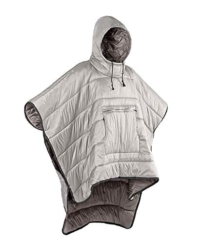 YPSMLYY Portable Camping Quilt Wearable Sleeping Bag, Waterproof Cape Shawl With Hat, Outdoor Warm Camping Sleeping Bag, Men And Women Wearing Capes,Grey