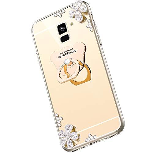 Saceebe kompatibel für Galaxy A8 plus 2018 Hülle Silikon TPU,Diamant Strass Blume Glitzer Kristall Überzug TPU Silikon Handyhülle mit Bear Ring Kickstand Schutzhülle Etui Weich stoßfest,Gold