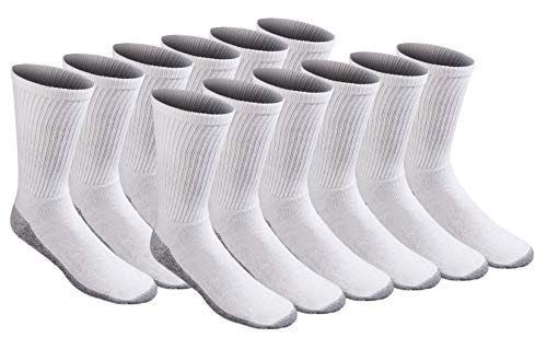 Dickies Men's All-Purpose Work Stain Resister Crew Socks (6/12 Packs), White (12 Pair), Shoe Size: 6-12