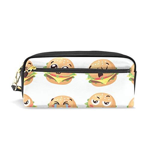 Niedliches Cartoon-Hamburger Federmäppchen für Kinder, große Kapazität, Make-up-Kosmetik-Boxen, Büro, Reisetasche
