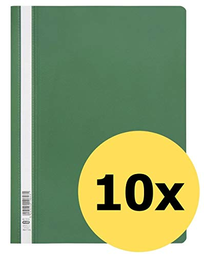 ELBA 400116316 Schnellhefter A4 10er Pack aus Kunststoff für ca. 160 DIN A4-Blätter in grün