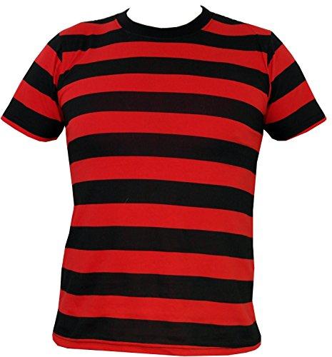 Rock Star Academy Negro y Rojo Rayas Camiseta Negro Negro/Rojo Medium