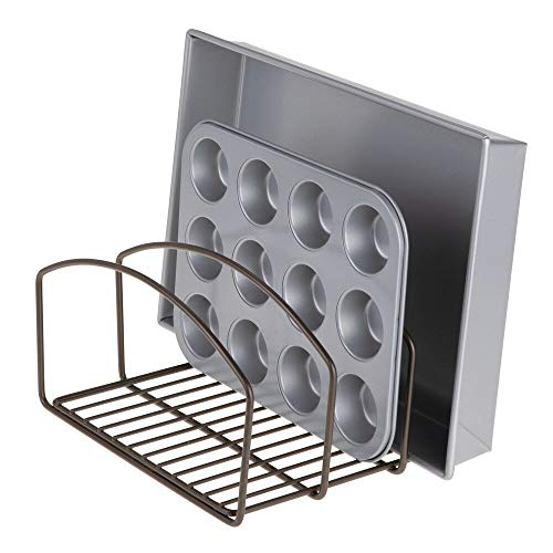 mDesign Metal Wire Cookware Organizer Rack for Kitchen Cabinet, Pantry and Shelves - Organizer Holder with Three Slots for Cookie Trays, Muffin Tins, Bread Pans, Cutting Boards - Bronze