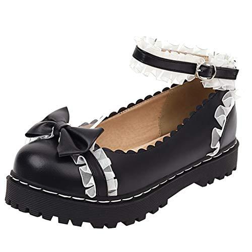 Femany Damen Cosplay Lolita Schuhe Flach Pumps mit Knöchelriemchen und Schleife Rockabilly Schuhe (Schwarz,40)