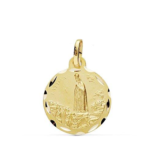 Medalla Oro 18K Virgen Fátima 16mm. [Ab0793]