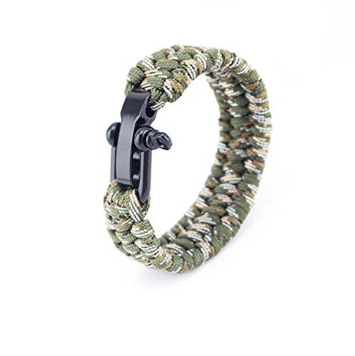 en forme de U en acier Boucles Régler Bracelet de survie/extérieur randonnée Camping, camouflage 8 inches (20cm)