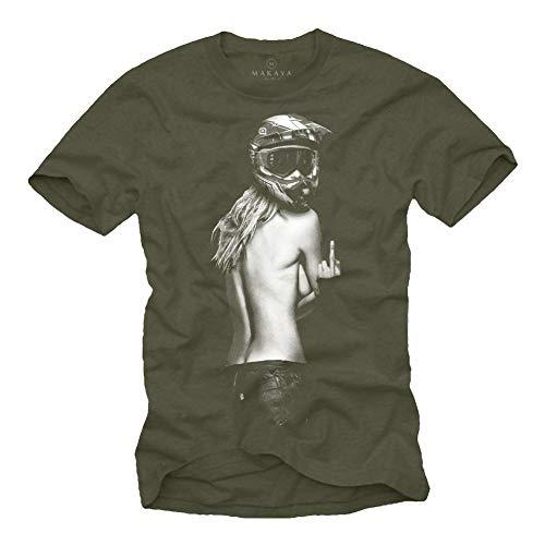 MAKAYA Ropa de Moto Hombre - Camiseta Motocross - Chica con Casco Moto Integral Verde L
