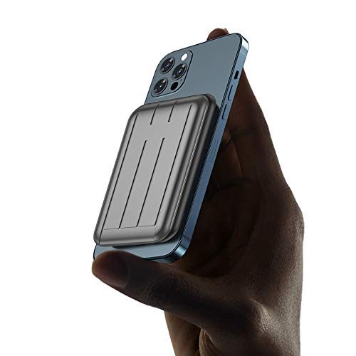 Cargador PortáTil InaláMbrico MagnéTico Mini mag-Safe 5000mah 15w con Pantalla LED Y USB C, BateríA Externa Adsorbible MagnéTica para iPhone 12 / Mini/Pro/Pro MAX (Gris)